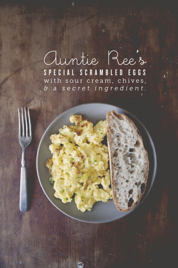 AUNTIE REE'S SPECIAL SCRAMBLED EGGS WITH SOUR CREAM, CHIVES + A ...