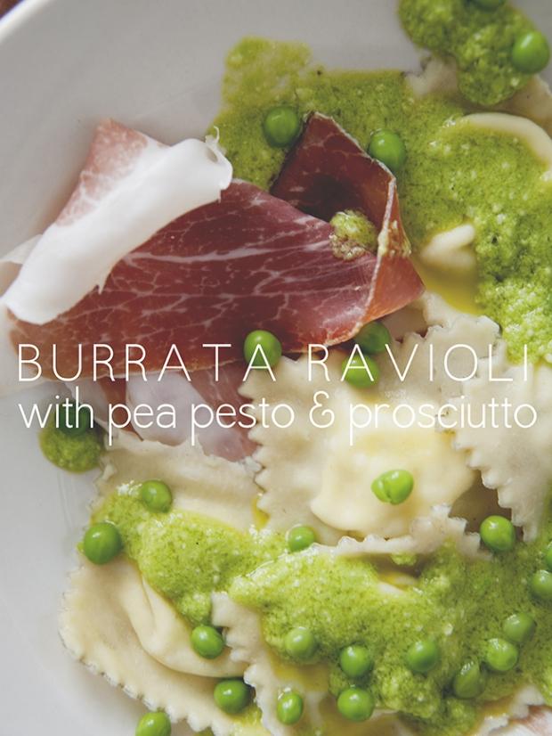 BURRATA RAVIOLI WITH PEA PESTO + PROSCIUTTO | The Kitchy Kitchen