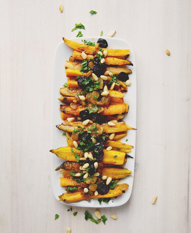 Roasted Curried Carrot Salad with Raisins and Pine Nuts
