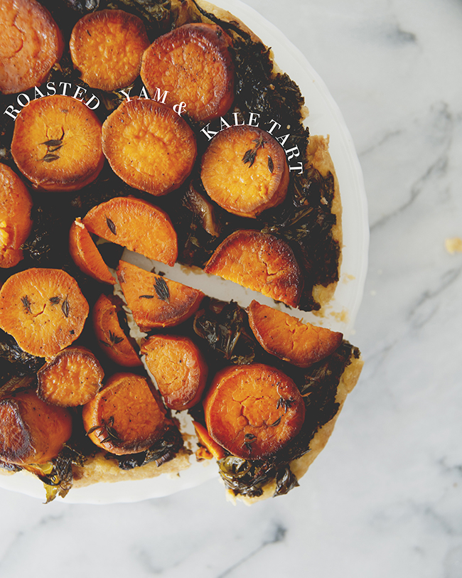 ROASTED YAM + KALE TART // The Kitchy Kitchen