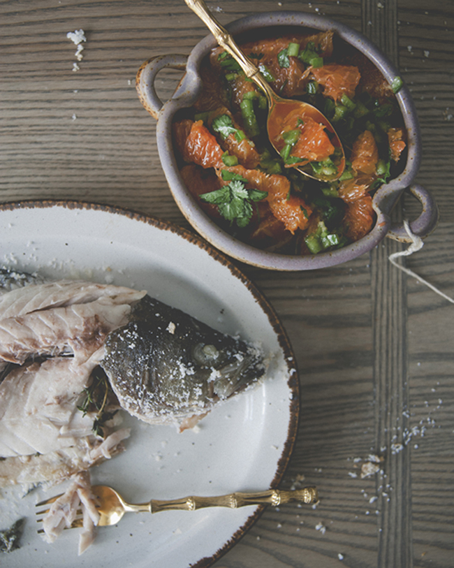 SALT ROASTED FISH WITH SPICY ORANGE SALSA - The Kitchy Kitchen