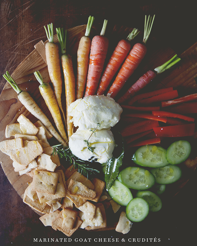 HERB MARINATED GOAT CHEESE WITH CRUDITE AND PITA CHIPS // The Kitchy ...