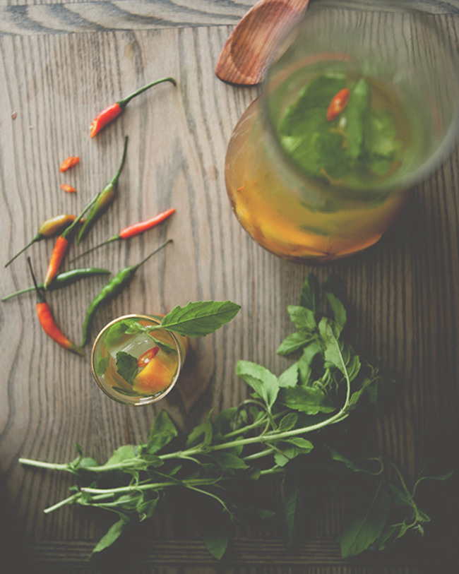 SPICY MANGO BASIL SANGRIA // The Kitchy Kitchen