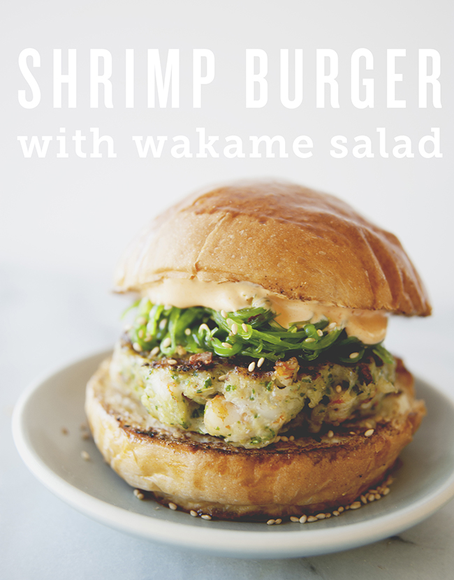Shrimp burger with wakame slaw from the Kitchy Kitchen // Best healthy burger recipes for summer BBQ season - PumpUp Blog Favorites