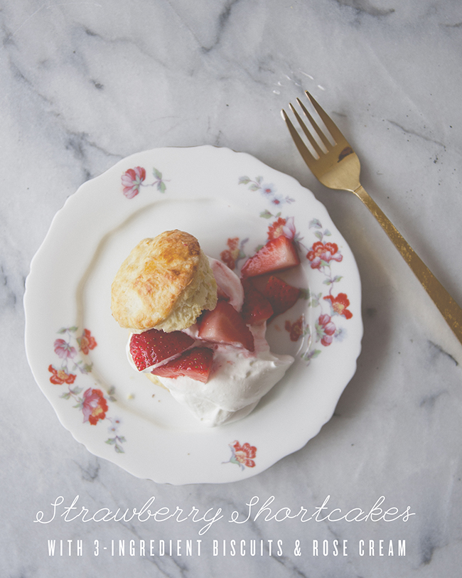STRAWBERRY SHORTCAKES WITH THREE INGREDIENT BISCUITS // The Kitchy Kitchen