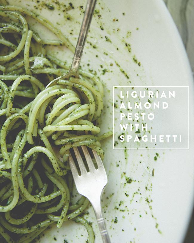 LIGURIAN ALMOND PESTO WITH SPAGHETTI - The Kitchy Kitchen