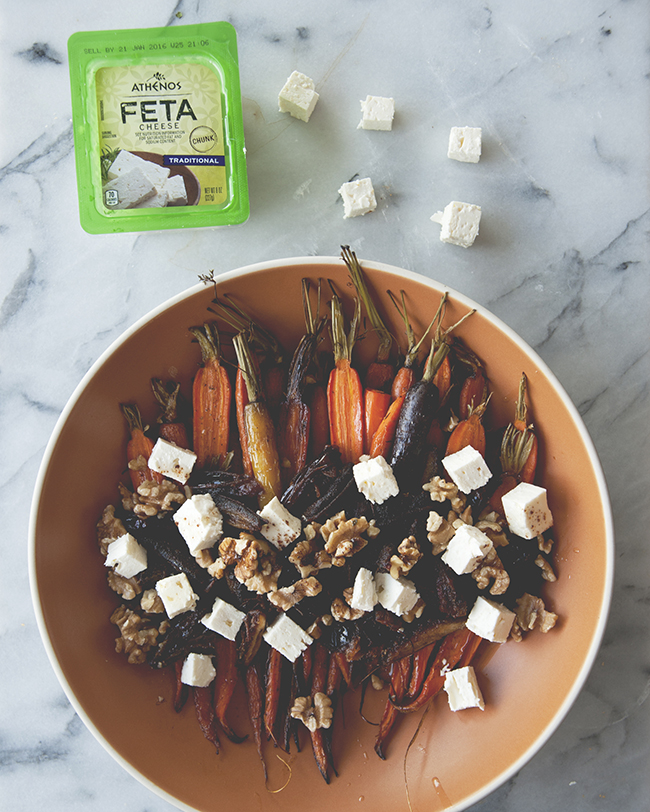 ROASTED CARROTS WITH DATES + BROWN BUTTER + FETA + WALNUTS // The Kitchy Kitchen