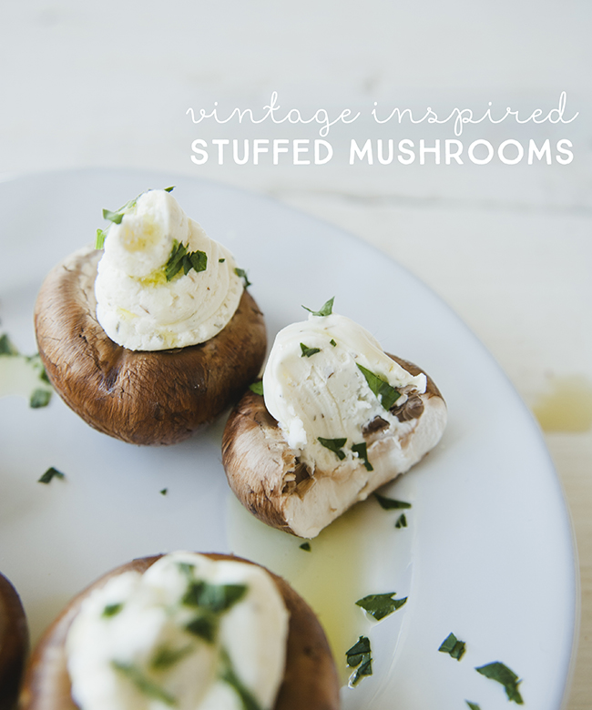 VINTAGE INSPIRED STUFFED MUSHROOMS // THE KITCHY KITCHEN