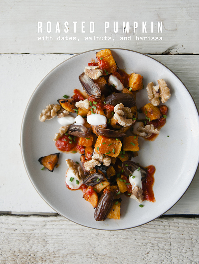ROASTED PUMPKIN WITH DATES, WALTNUTS AND HARISSA // THE KITCHY KITCHEN