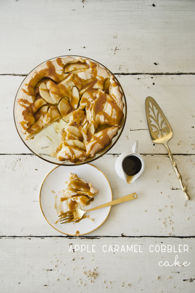 APPLE CARAMEL COBBLER CAKE // THE KITCHY KITCHEN