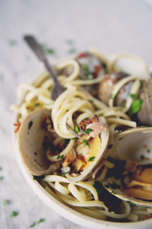 Linguini with Clams and Bacon Pasta Reshoot