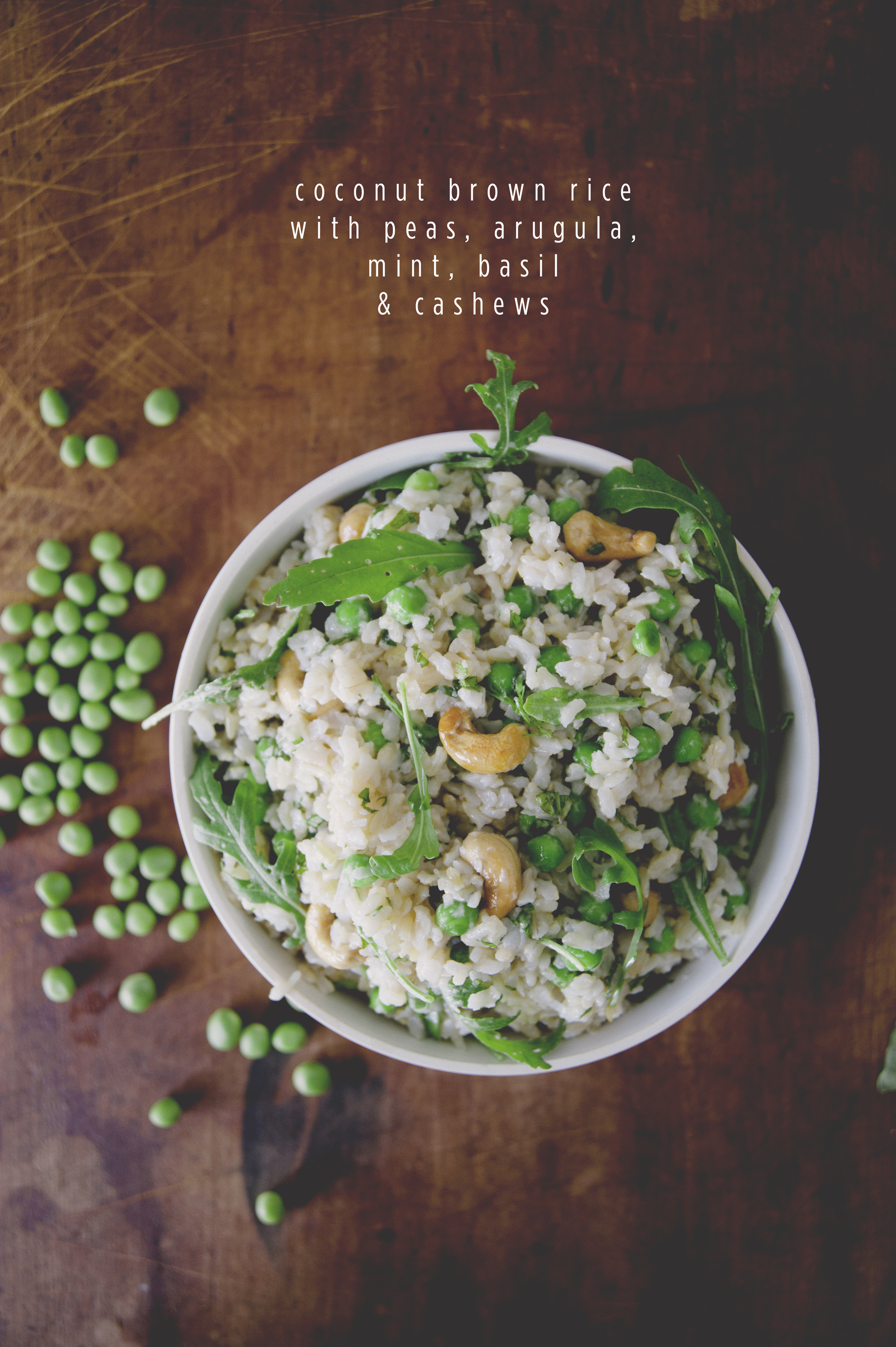 Coconut Brown Rice With Peas Arugula Mint Basil Cashews The Kitchy Kitchen