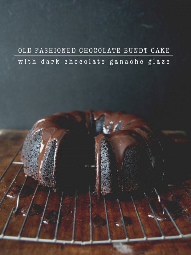 a chocolate bundt cake with dark chocolate ganache glaze drizzled on top // The Kitchy Kitchen