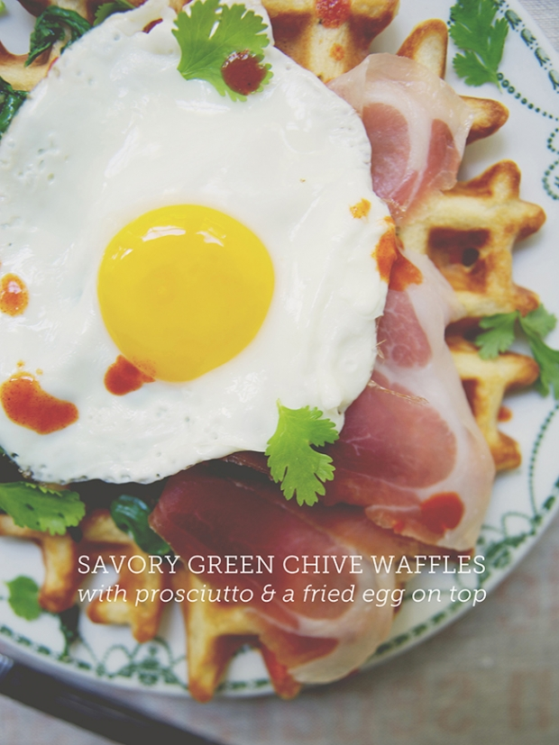 Green Chive Waffles with Prosciutto and Poached Eggs Breakfast