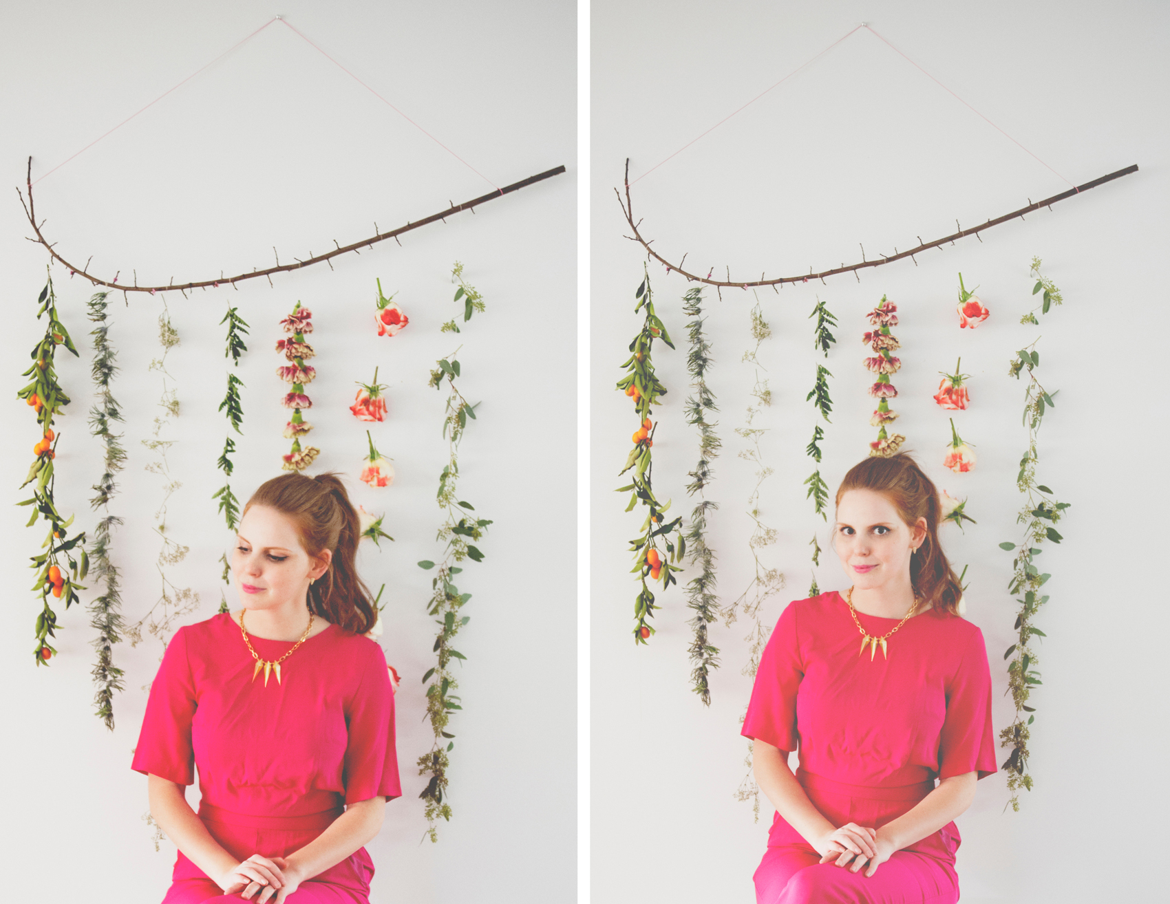 DIY FLOWER GARLAND WALL HANGING - The Kitchy Kitchen