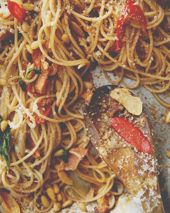 SPAGHETTI CHITARRA WITH BACON + CHILES + PINE NUTS