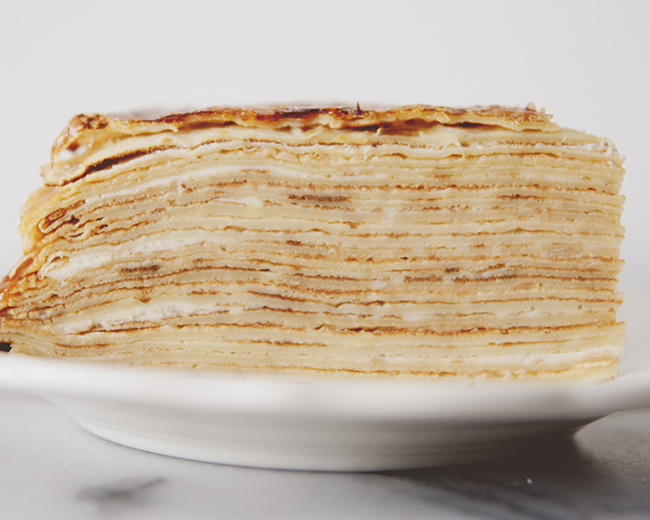 CREPE CAKE WITH SALTED CARAMEL + MASCARPONE + CINNAMON PEAR PUREE // The Kitchy Kitchen
