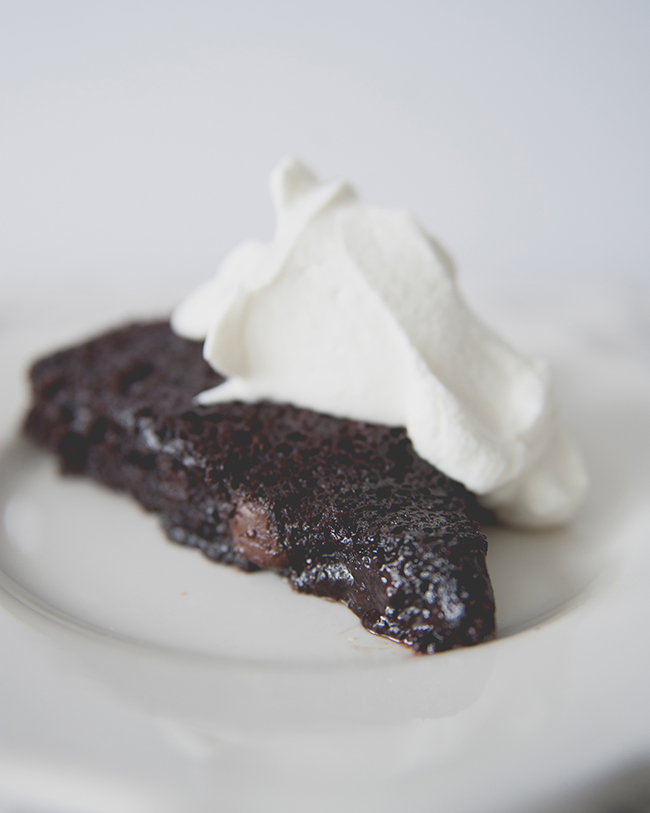 VEGAN + GLUTEN FREE CHOCOLATE CAKE WITH COCONUT WHIPPED CREAM