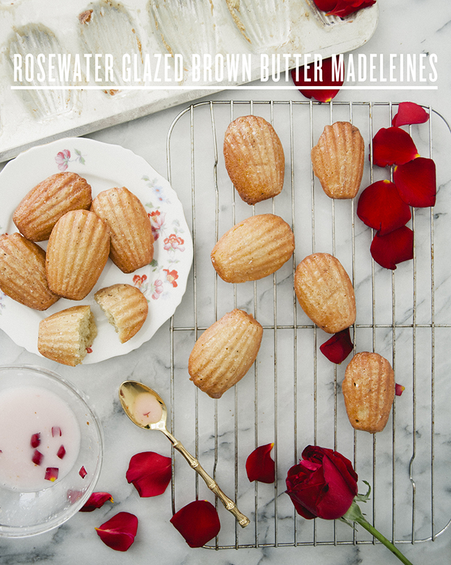ROSE-GLAZED BROWN BUTTER MADELEINES // The Kitchy Kitchen