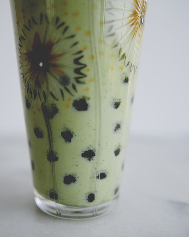 Iced matcha tea with bourbon soaked boba and condensed milk // The Kitchy Kitchen