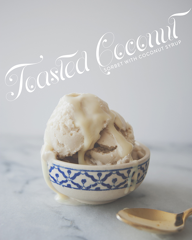 TOASTED COCONUT SORBET // The Kitchy Kitchen