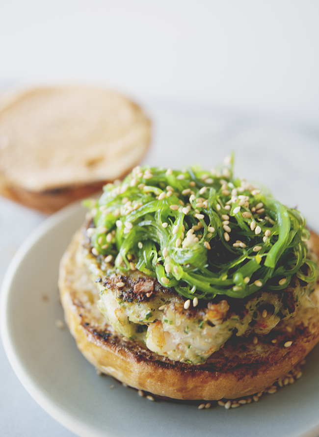 SHRIMP BURGER WITH WAKAME SLAW // The Kithcy Kitchen