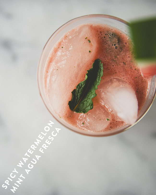 refreshing watermelon agua fresca in a glass with a sprig of mint // The Kitchy Kitchen