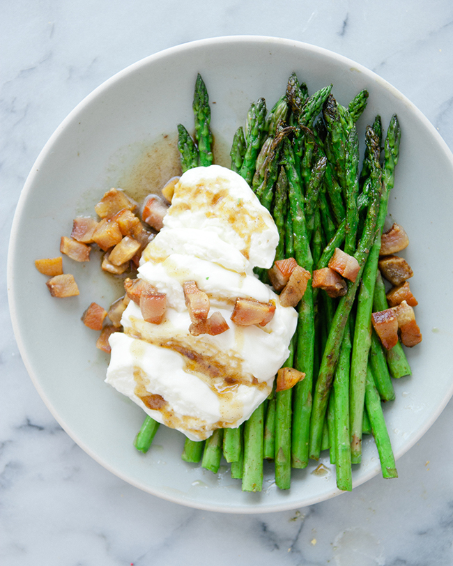 ASPARAGUS WITH BURRATA + BROWN BUTTER + GUANCIALE // The Kitchy Kitchen