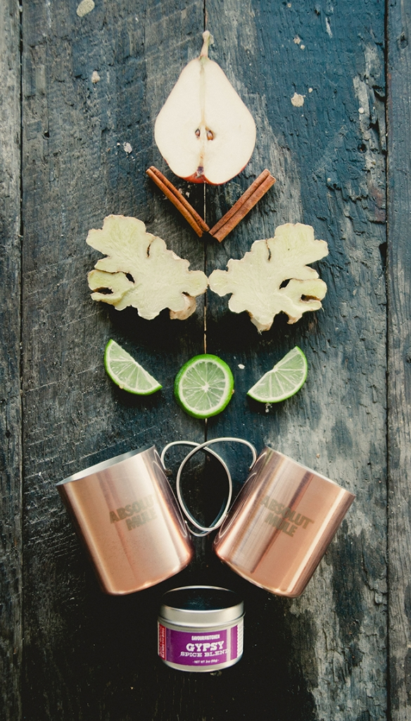 SPICED GINGER PEAR MULE   MARLENE'S ROASTED BUTTERNUT SQUASH POLENTA TRIANGLES // IN PARTNERSHIP WITH ABSOLUT VODKA | The Kitchy Kitchen