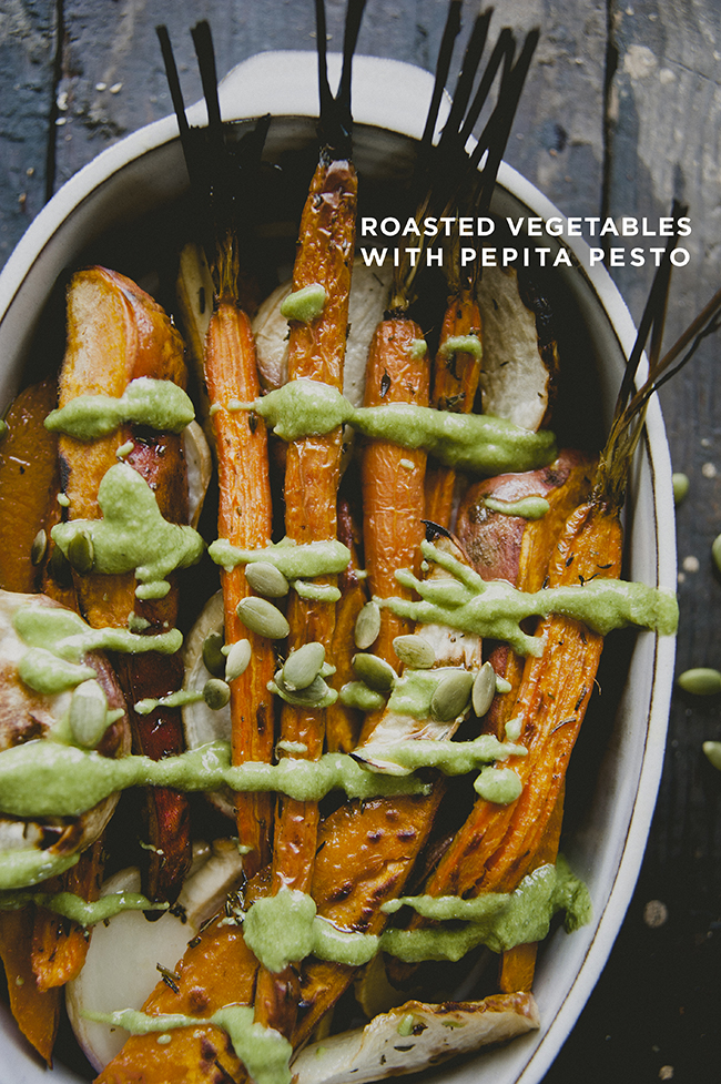 ROASTED WINTER VEGETABLES WITH PUMPKIN SEED PESTO DRIZZLED ON TOP // The Kitchy Kitchen