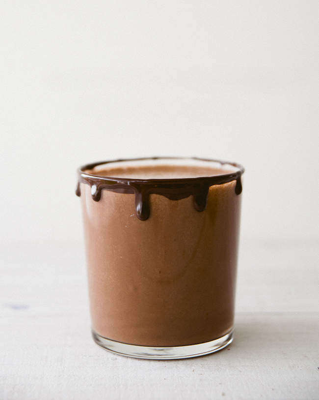 THE CHOCOLATIEST ALMOND MILK EVER WITH CHOCOLATE RIM IN SHORT GLASS // The Kitchy Kitchen