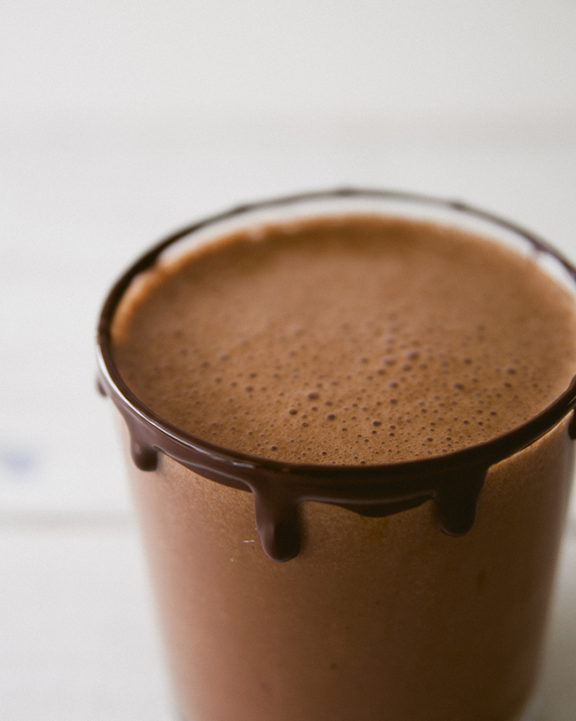 CHOCOLATE ALMOND MILK IN SHORT GLASS WITH CHOCOLATE RIM // The Kitchy Kitchen