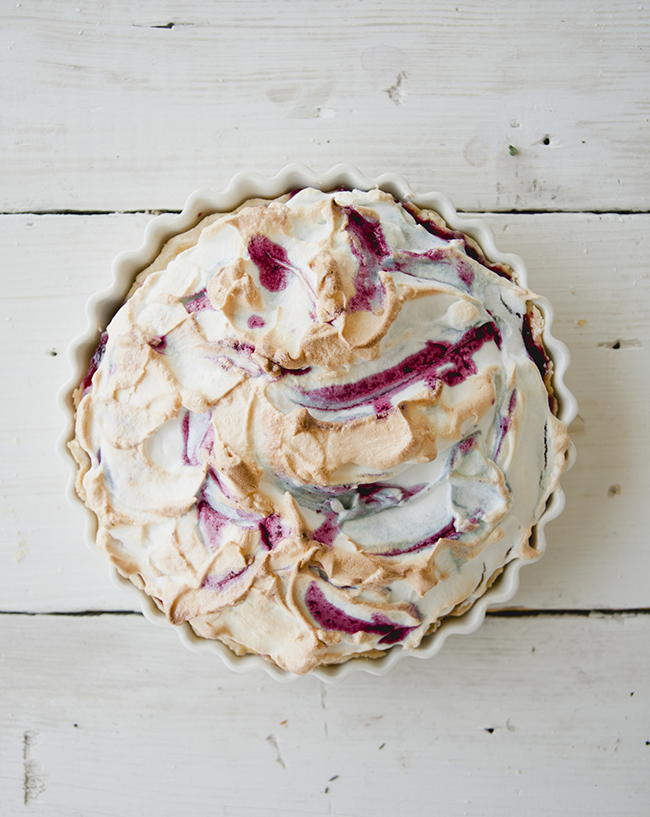 HUCKLEBERRY LEMON MERINGUE PIE WITH TWO INCHES OF MERINGUE ON TOP // The Kitchy Kitchen