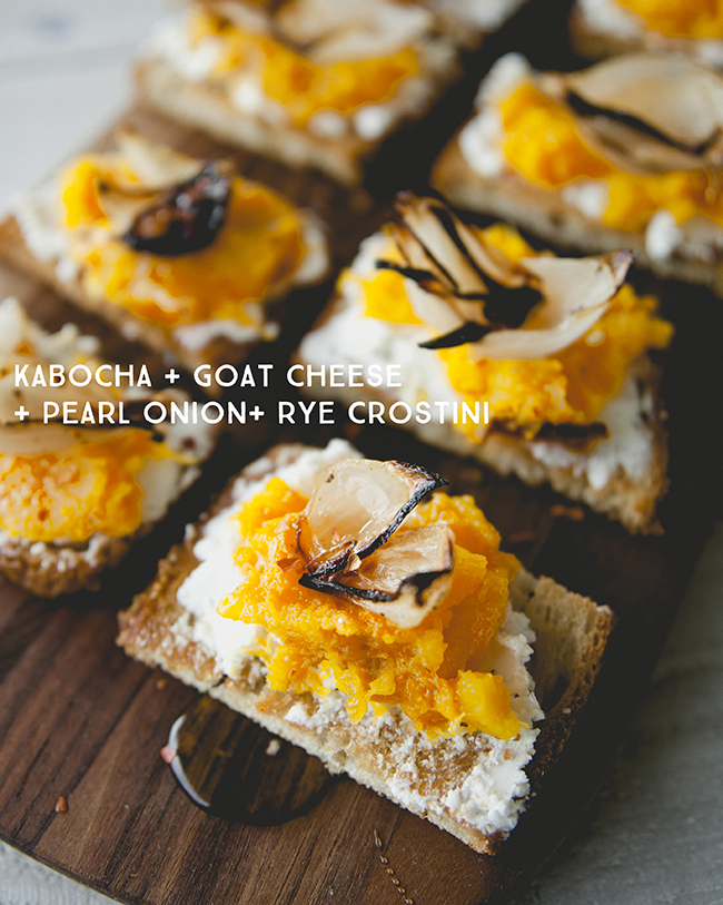 KABOCHA + GOAT CHEESE + PEARL ONION + RYE CROSTINI // The Kitchy Kitchen