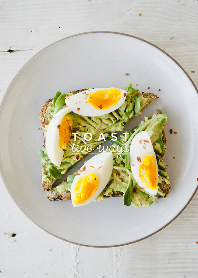 toasted slice of eureka!® Organic Bread with smashed avocado and hardboiled eggs on top // The Kitchy Kitchen