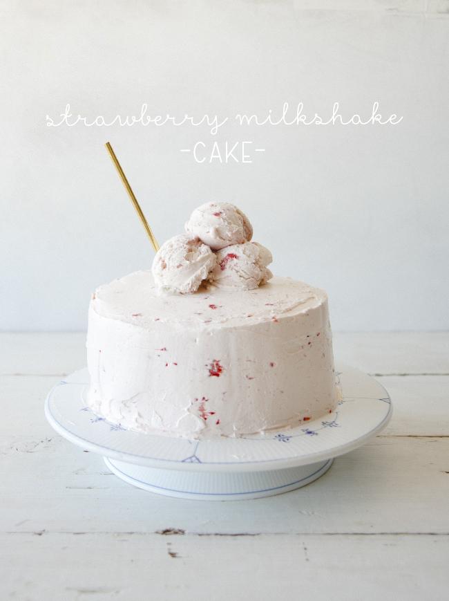 Outstanding Strawberry Milkshake Cake The Kitchy Kitchen Personalised Birthday Cards Epsylily Jamesorg